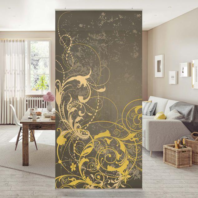 Raumteiler - Schnörkel in Gold 250x120cm