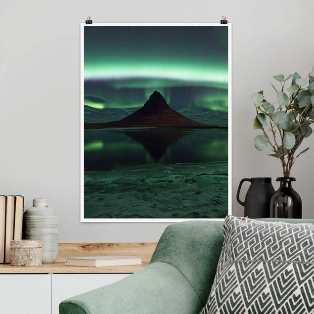 Poster - Polarlicht in Island - Hochformat 3:4