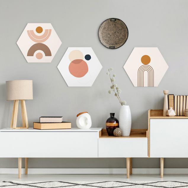 Hexagon Bild Forex 3-teilig - Line Art Abstrakte Formen Set II
