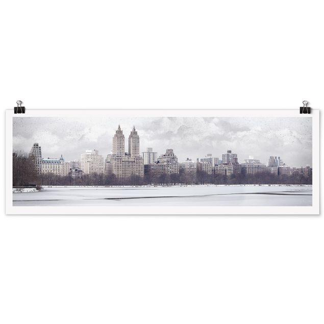 Poster - No.YK2 New York im Schnee - Panorama Querformat