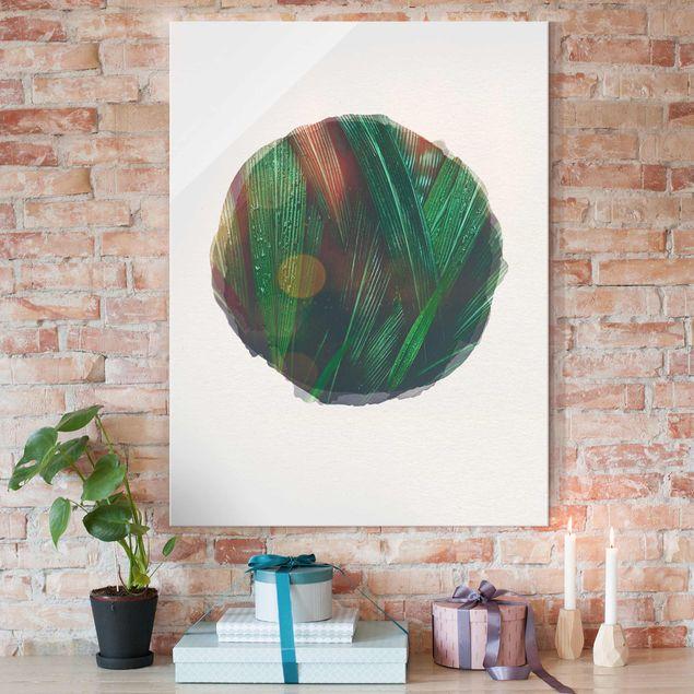 Glasbild - Wasserfarben - Grüne Palmenblätter - Hochformat 4:3