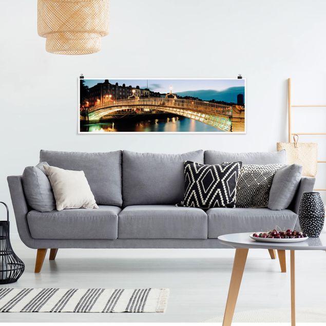 Poster - Ha'penny Bridge - Panorama Querformat