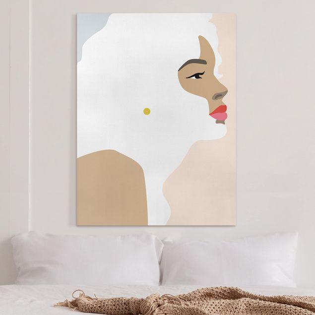 Leinwandbild - Line Art Portrait Frau Pastell Rosa - Hochformat 4:3