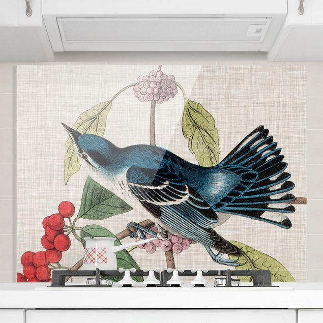 Glas Spritzschutz - Vogel auf Leinen Rosa II - Querformat - 4:3