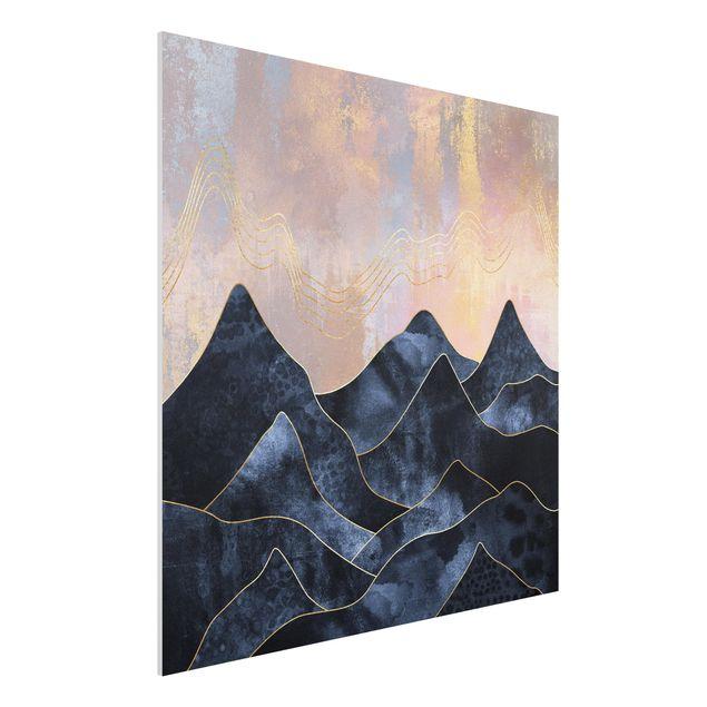 Forex Fine Art Print - Goldene Dämmerung über Gebirge - Quadrat 1:1