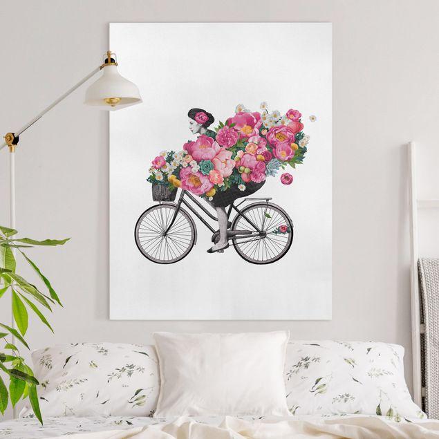Leinwandbild - Illustration Frau auf Fahrrad Collage bunte Blumen - Hochformat 4:3
