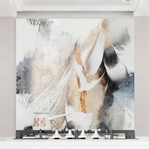 Glas Spritzschutz - Goldene abstrakte Wintermalerei - Quadrat - 1:1
