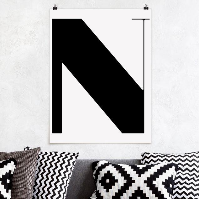 Poster - Antiqua Letter N - Hochformat 3:4
