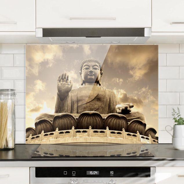 Glas Spritzschutz - Großer Buddha Sepia - Querformat - 4:3