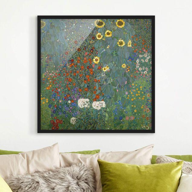 Bild mit Rahmen - Gustav Klimt - Garten Sonnenblumen - Quadrat 1:1