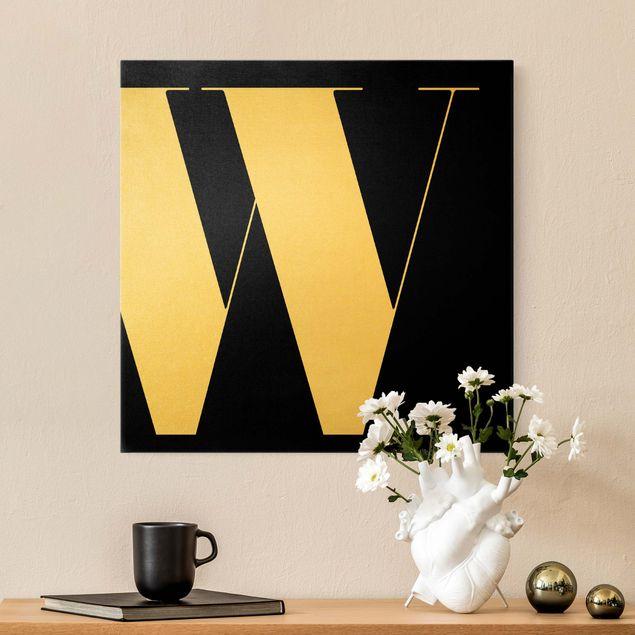 Leinwandbild Gold - Antiqua Letter W Schwarz - Quadrat 1:1