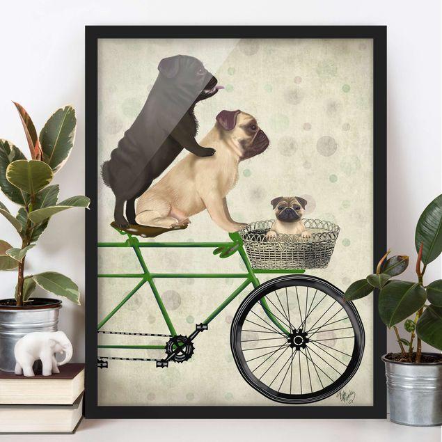 Bild mit Rahmen - Radtour - Möpse auf Fahrrad - Hochformat 4:3