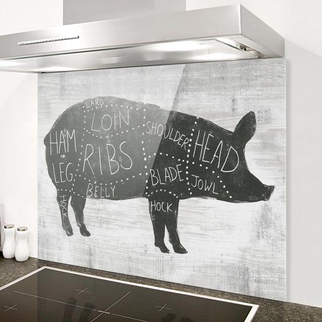 Glas Spritzschutz - Metzger Schautafel - Schwein - Querformat - 4:3