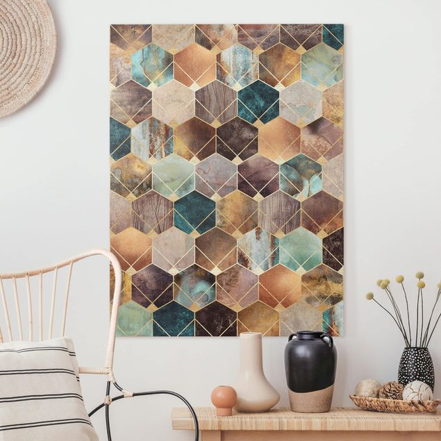 Leinwandbild - Türkise Geometrie goldenes Art Deco - Hochformat 4:3
