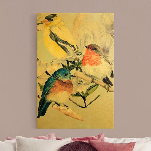 Leinwandbild Gold - Bunte Vögel auf einem Magnolienast II - Hochformat 2:3