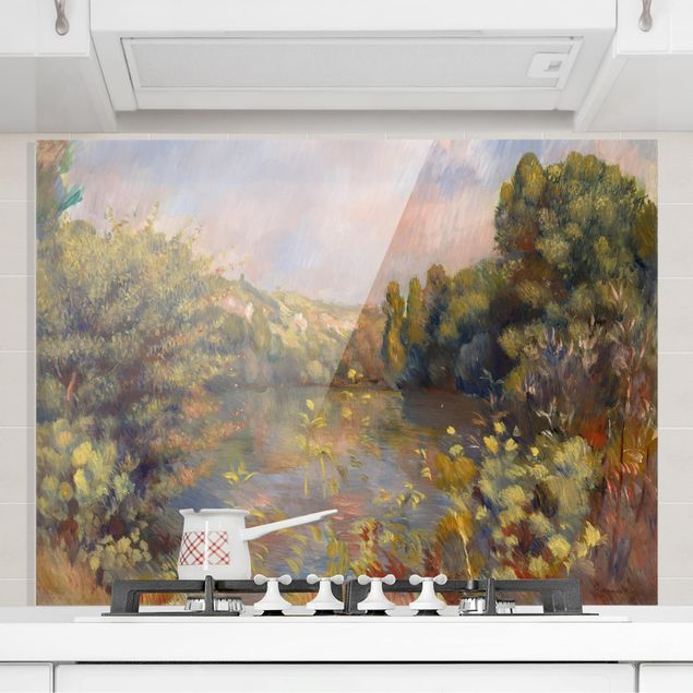Glas Spritzschutz - Auguste Renoir - Landschaft mit See - Querformat - 4:3