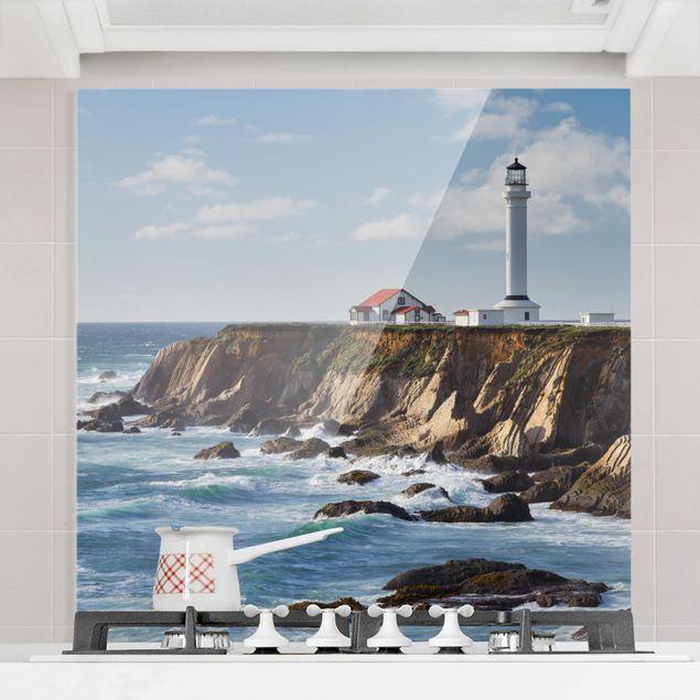 Glas Spritzschutz - Point Arena Lighthouse Kalifornien - Quadrat - 1:1