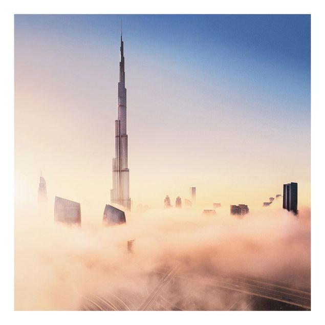 Forex Fine Art Print - Himmlische Skyline von Dubai - Quadrat 1:1