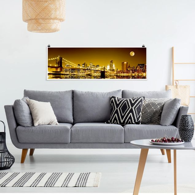 Poster - Goldenes New York - Panorama Querformat