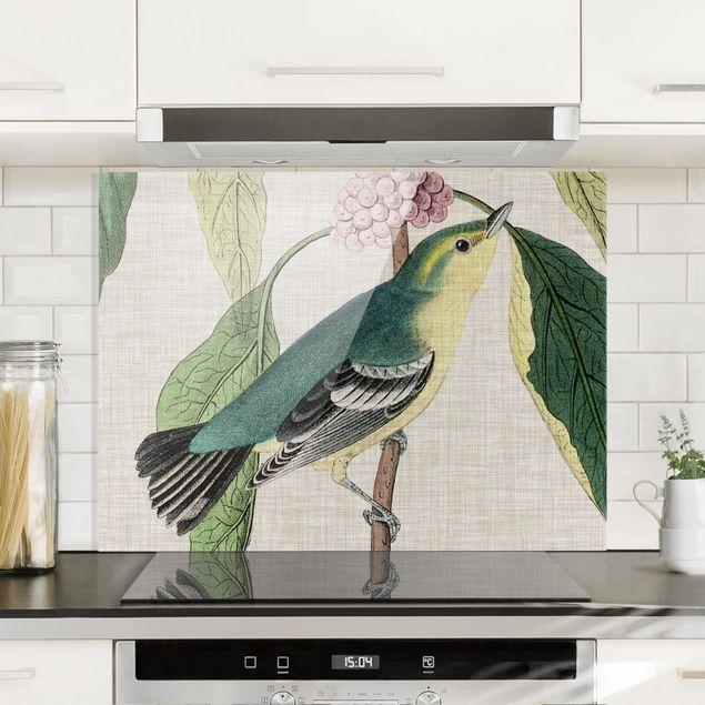 Glas Spritzschutz - Vogel auf Leinen Rosa I - Querformat - 4:3