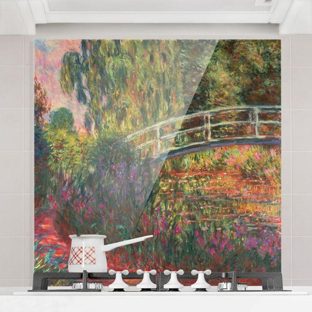Glas Spritzschutz - Claude Monet - Japanische Brücke im Garten von Giverny - Quadrat - 1:1