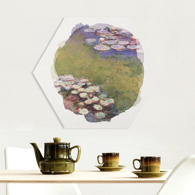Hexagon Bild Forex - Wasserfarben - Claude Monet - Seerosen