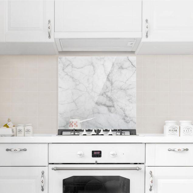 Glas Spritzschutz - Bianco Carrara - Quadrat - 1:1