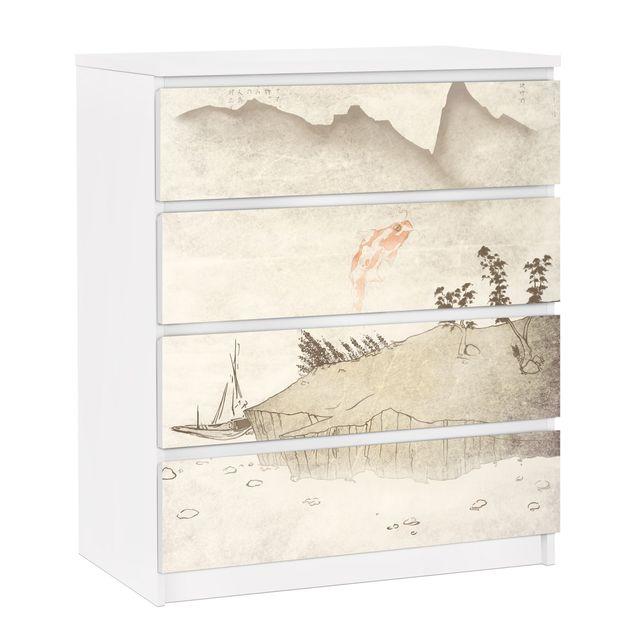 Möbelfolie für IKEA Malm Kommode - selbstklebende Folie No.MW8 Japanische Stille