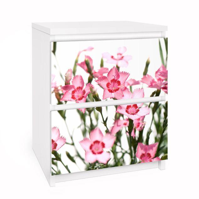 Möbelfolie für IKEA Malm Kommode - Selbstklebefolie Pink Flowers