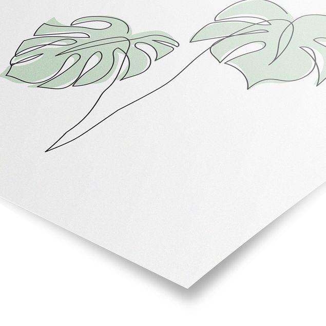 Poster - Blätter Monstera Line Art - Quadrat 1:1
