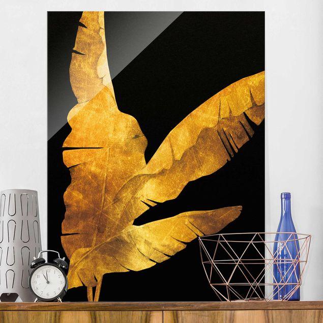 Glasbild - Gold - Bananenpalme auf Schwarz - Hochformat 4:3