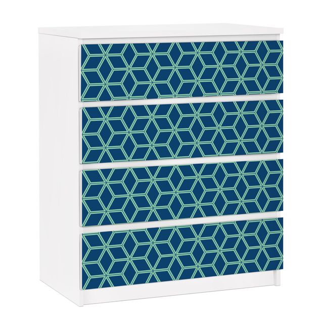 Möbelfolie für IKEA Malm Kommode - selbstklebende Folie Würfelmuster Blau