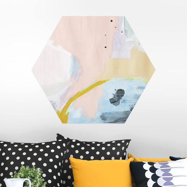 Hexagon Bild Alu-Dibond - Verschwommener Tagesanbruch I