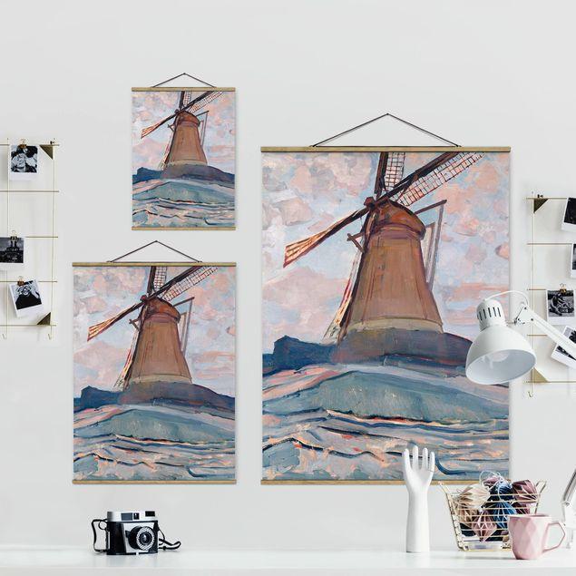 Stoffbild mit Posterleisten - Piet Mondrian - Windmühle - Hochformat 3:4