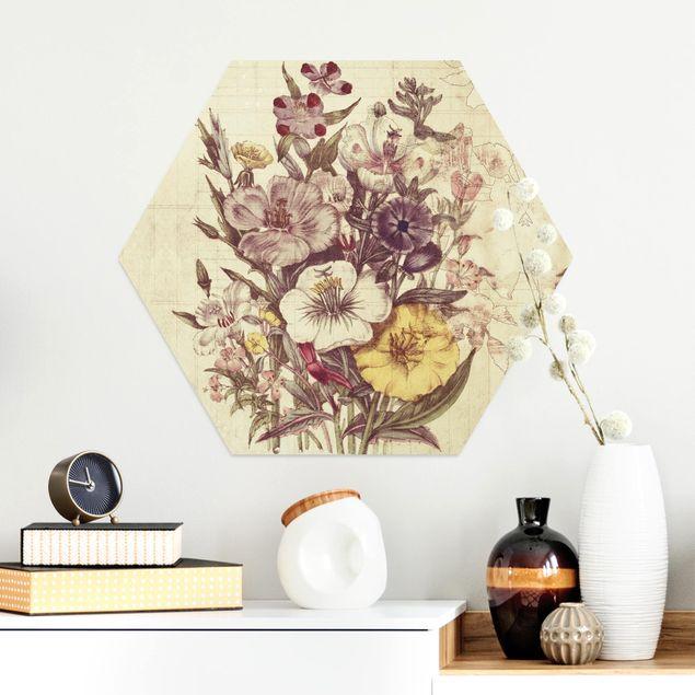 Hexagon Bild Alu-Dibond - Vintage Letter Blumenstrauss