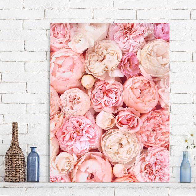 Glasbild - Rosen Rosé Koralle Shabby - Hochformat 4:3