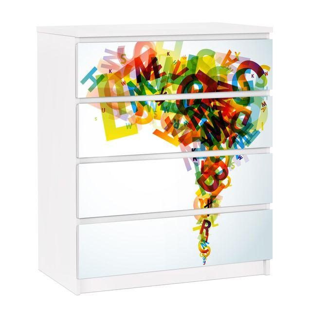 Möbelfolie für IKEA Malm Kommode - selbstklebende Folie Rainbow Alphabet