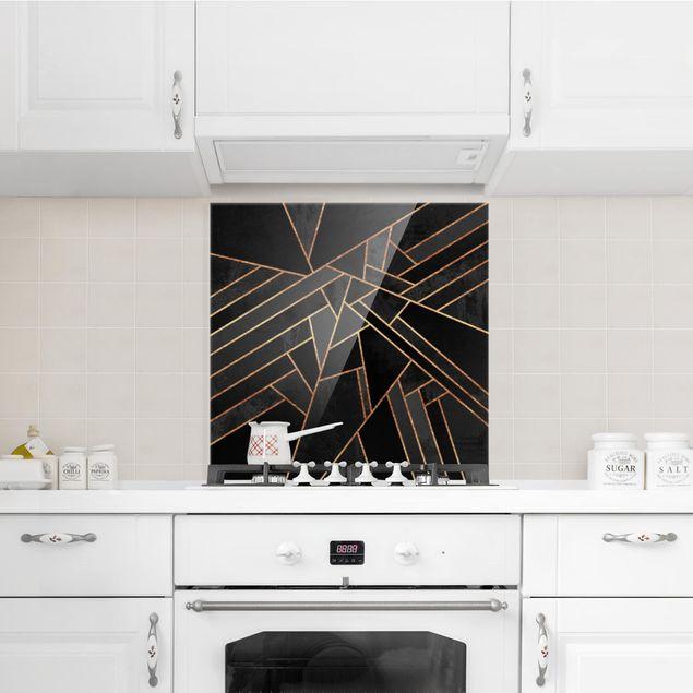 Spritzschutz Glas - Schwarze Dreiecke Gold - Quadrat 1:1