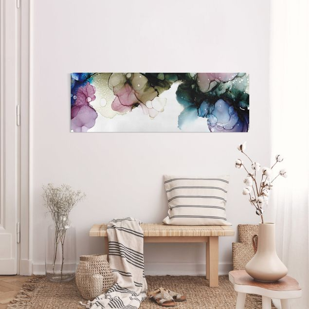Leinwandbild - Blumenbogen mit Gold - Panorama 3:1