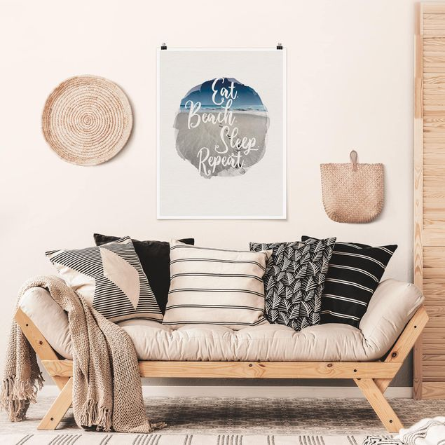 Poster - Wasserfarben - Eat.Beach.Sleep.Repeat. - Hochformat 4:3