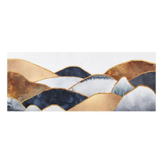 Spritzschutz Glas - Goldene Berge Aquarell - Panorama - 5:2