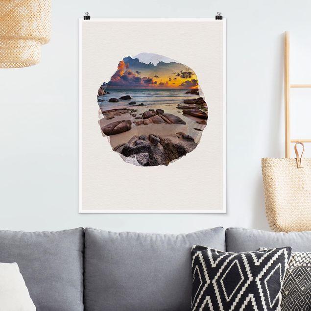 Poster - Wasserfarben - Strand Sonnenaufgang in Thailand - Hochformat 4:3
