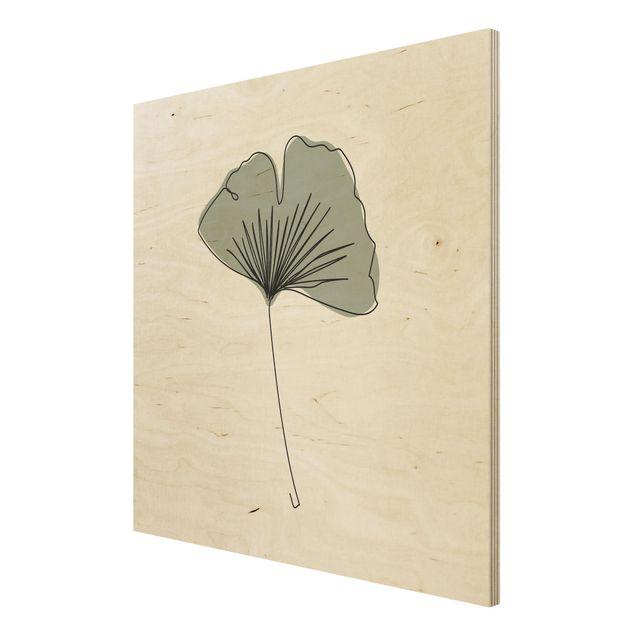 Holzbild - Gingko Blatt Line Art - Quadrat 1:1