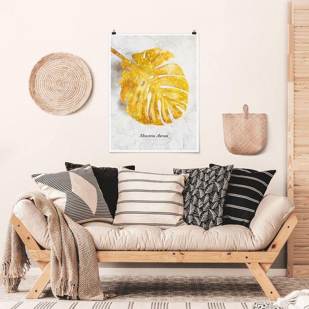 Poster - Gold - Monstera Aurum - Hochformat 4:3