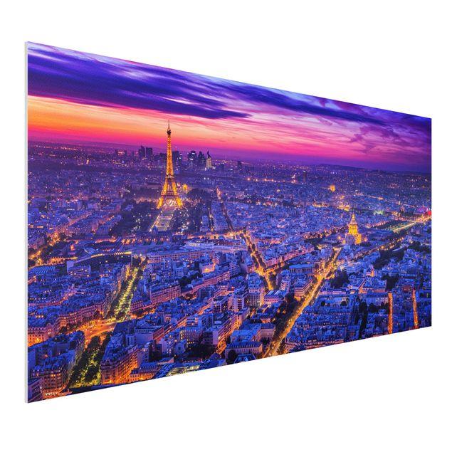 Forex Fine Art Print - Paris bei Nacht - Querformat 1:2