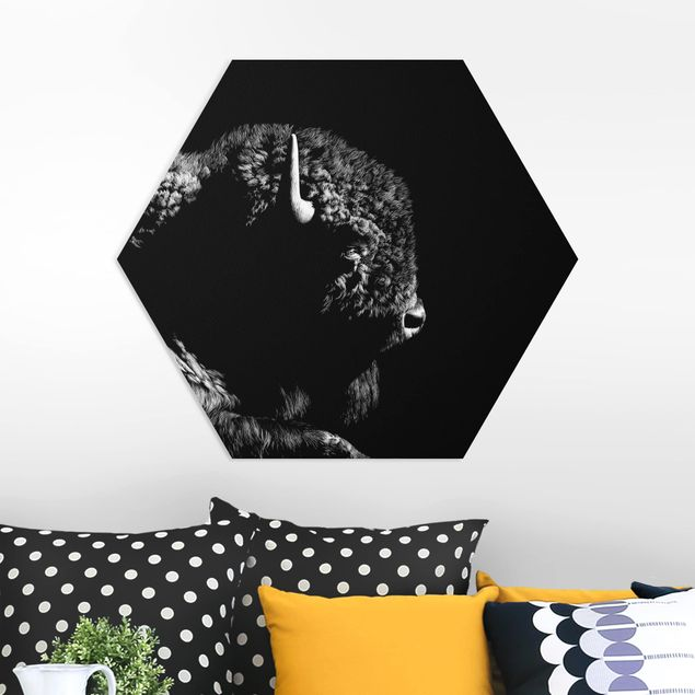 Hexagon Bild Forex - Bison vor Schwarz
