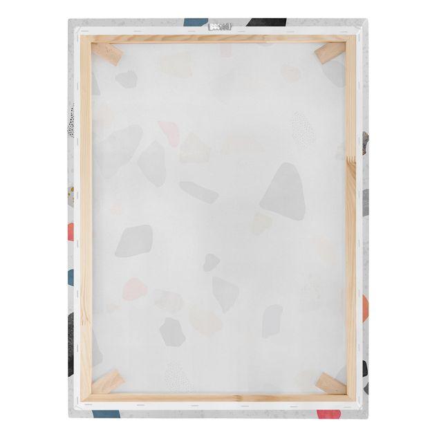 Leinwandbild - Weißer Terrazzo mit Goldsteinchen - Hochformat 4:3