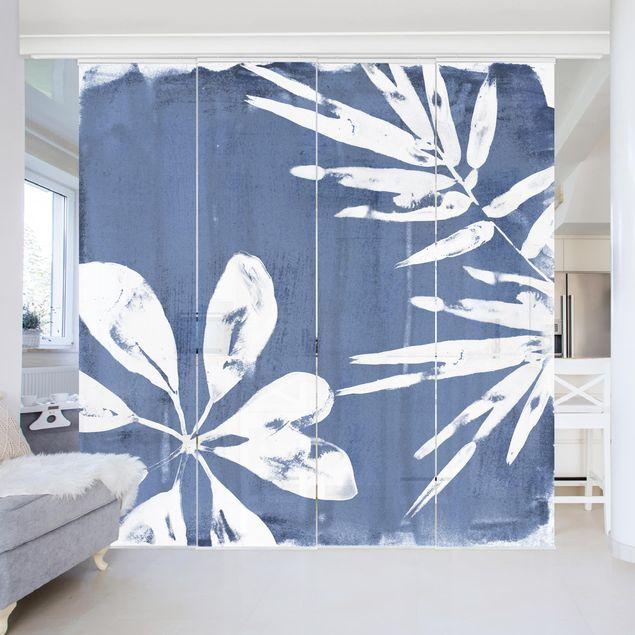 Schiebegardinen Set - Tropische Blätter Indigo I - Flächenvorhang