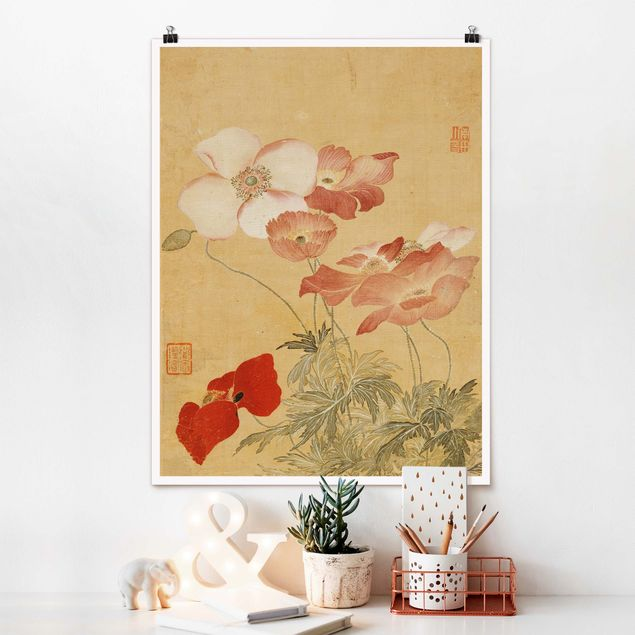 Poster - Yun Shouping - Mohnblumen - Hochformat 4:3