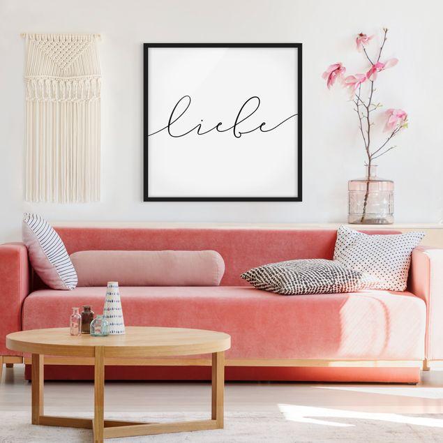 Bild mit Rahmen - Liebe Kalligraphie - Quadrat 1:1